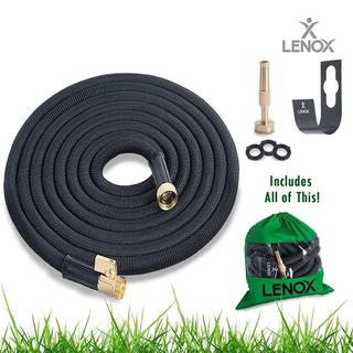Lenox ALTYG0650B Expandable Water Hose 50ft Heavy Duty Latex Solid ON/OFF Brass Valve Connector (3 colors)