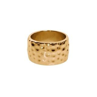 Eternally Haute Gold plated Hammered Cigar Ring