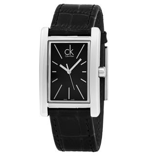 Calvin Klein Men's K4P211C1 'Refine' Black Dial Black Leather Strap Swiss Quartz Watch