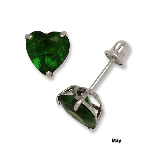 Heart Flower Ruby /& Emerald Child Stud Earrings Screw Back 14K Yellow Gold