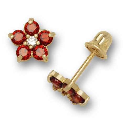 14K Yellow Gold Cubic Zircornia Small Flower Birthstone Screw-back Stud Earrings (12 colors) (5mm)