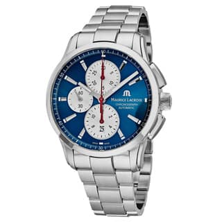 Maurice Lacroix Men's PT6388-SS002-430 'Pontos' Blue Dial Stainless Steel Chronograph Swiss Automatic Watch|https://ak1.ostkcdn.com/images/products/18227841/P24368371.jpg?impolicy=medium