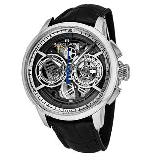 Maurice Lacroix Men's MP6028-SS001-001 'Master Piece' Silver Skeleton Dial Black Leather Strap Chronograph Swiss Automatic Watch|https://ak1.ostkcdn.com/images/products/18227842/P24368372.jpg?impolicy=medium
