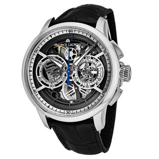 Maurice Lacroix Men's MP6028-SS001-001 'Master Piece' Silver Skeleton Dial Black Leather Strap Chronograph Swiss Automatic Watch