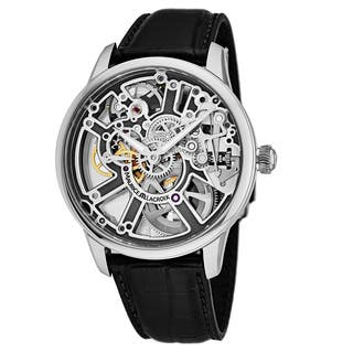 Maurice Lacroix Men's MP7228-SS001-003 'Master Piece' Silver Skeleton Dial Black Leather Strap Swiss Automatic Watch|https://ak1.ostkcdn.com/images/products/18227844/P24368373.jpg?impolicy=medium