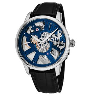 Maurice Lacroix Men's MP7228-SS001-004 'Master Piece' Blue Skeleton Dial Black Leather Strap Swiss Automatic Watch|https://ak1.ostkcdn.com/images/products/18227848/P24368374.jpg?impolicy=medium