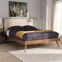 Mid-Century Beige Fabric Platform Bed by Baxton Studio