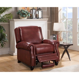Elite Red Premium Top Grain Italian Leather Recliner Chair  sc 1 st  Overstock.com : red leather recliner - islam-shia.org