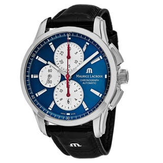 Maurice Lacroix Men's PT6388-SS001-430 'Pontos' Blue Dial Black Leather Strap Chronograph Swiss Automatic Watch|https://ak1.ostkcdn.com/images/products/18227853/P24368370.jpg?impolicy=medium