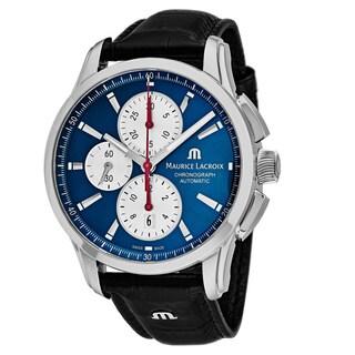 Maurice Lacroix Men's PT6388-SS001-430 'Pontos' Blue Dial Black Leather Strap Chronograph Swiss Automatic Watch