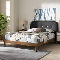 Mid-Century Grey Fabric Platform Bed by Baxton Studio