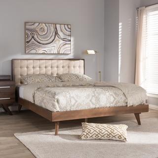 Baxton Studio Mid-century Beige Fabric Platform Bed