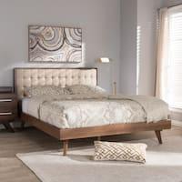 Mid-Century Beige Fabric Platform Bed by Baxton Studio
