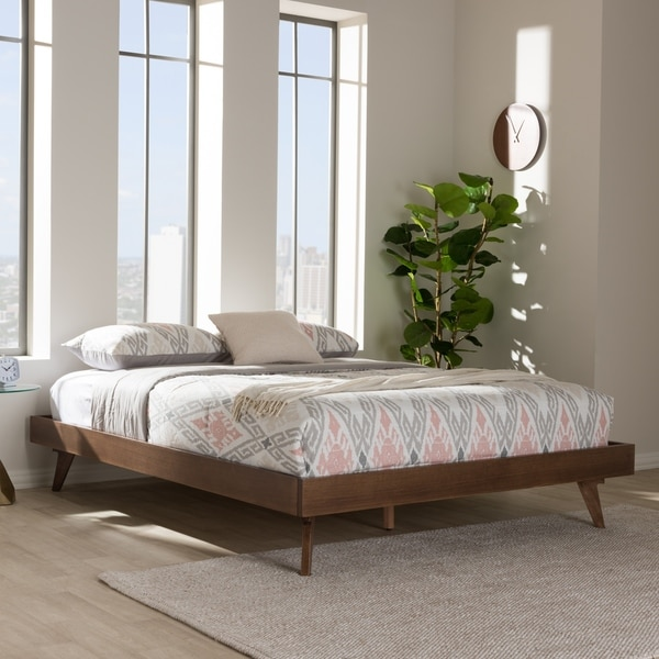 MidCentury Walnut Brown Wood Bed Frame by Baxton Studio Free