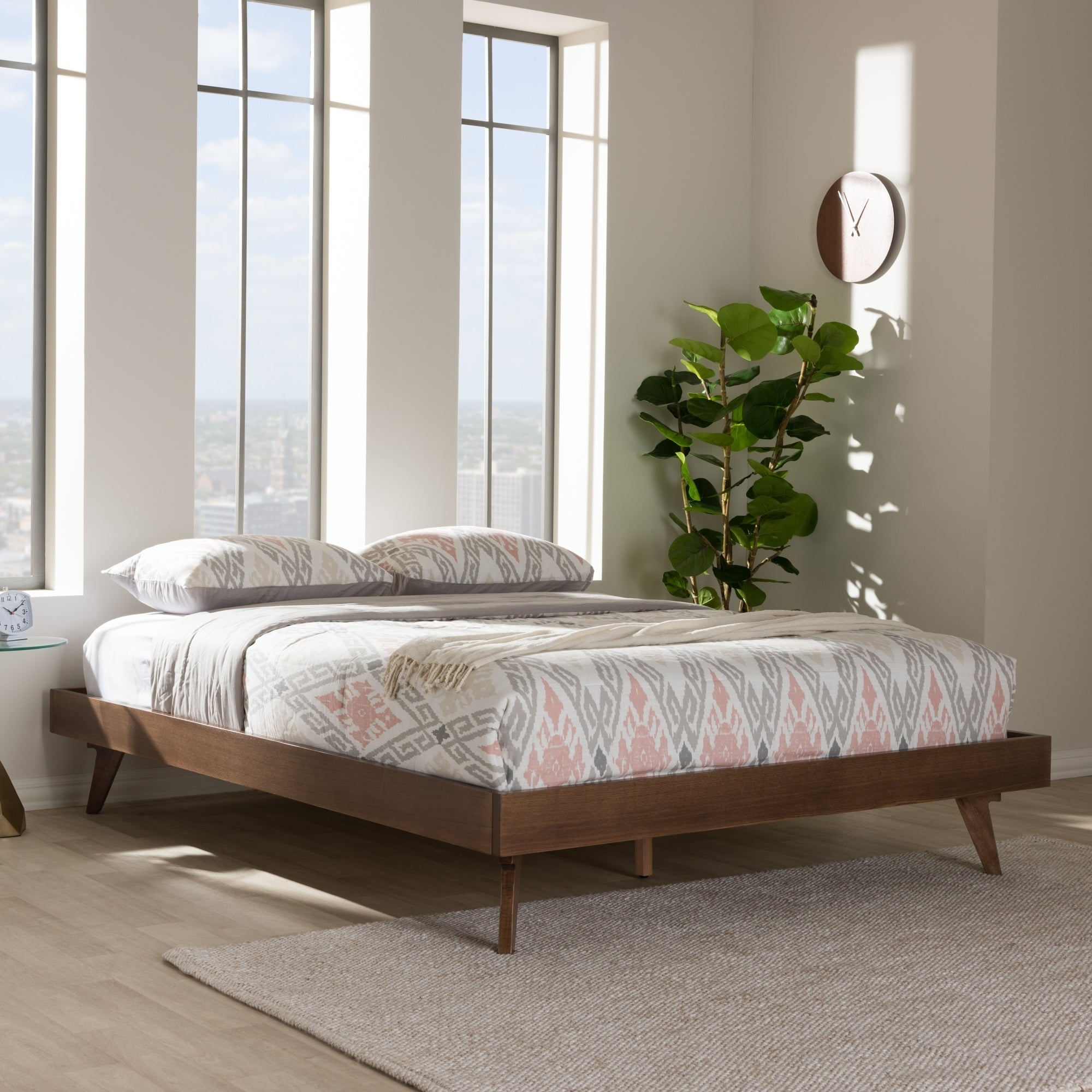 Shop Mid Century Walnut Brown Wood Bed Frame By Baxton Studio Overstock 18227871