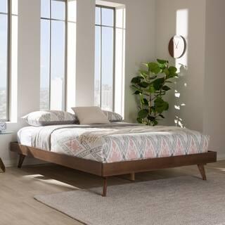 Mid Century Walnut Brown Wood Bed Frame By Baxton Studio