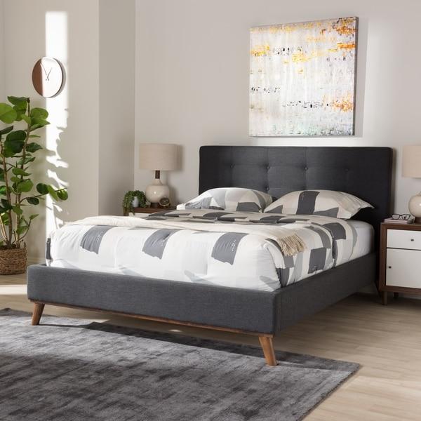 Baxton Studio Dark Grey Upholstered Wood Mid-century Platform Bed