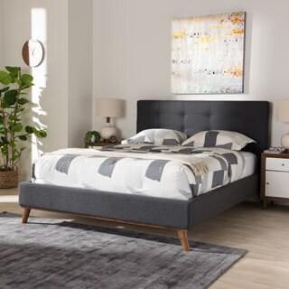 baxton studio dark grey upholstered wood midcentury platform bed