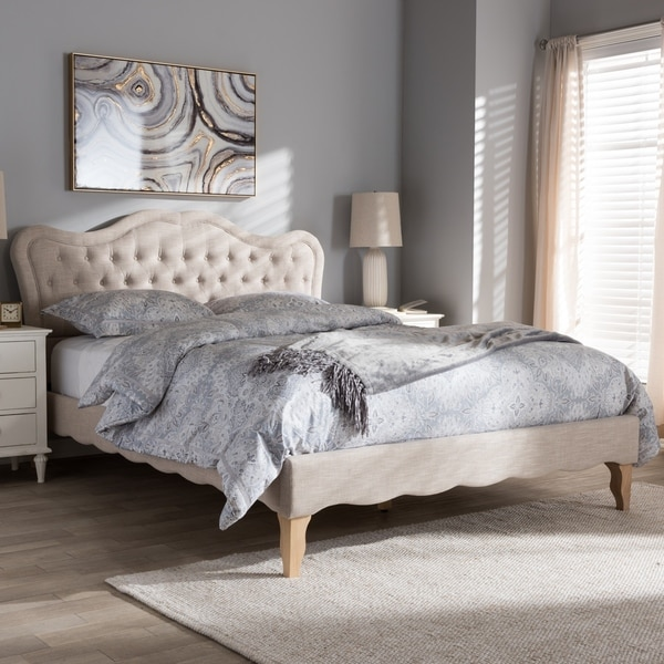 French Province Style Fabric Platform Bed by Baxton Studio