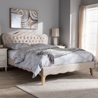 Maison Rouge Thompson French Province Style Fabric Platform Bed - Thumbnail 0