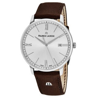 Maurice Lacroix Men's EL1118-SS001-110 'Eliros' Silver Dial Brown Leather Strap Swiss Quartz Watch