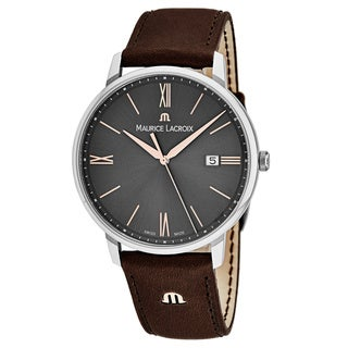 Maurice Lacroix Men's EL1118-SS001-311 'Eliros' Grey Dial Brown Leather Strap Swiss Quartz Watch