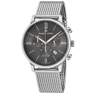 Maurice Lacroix Men's EL1098-SS002-311 'Eliros' Grey Dial Stainless Steel Chronograph Swiss Quartz Watch|https://ak1.ostkcdn.com/images/products/18227937/P24368427.jpg?impolicy=medium