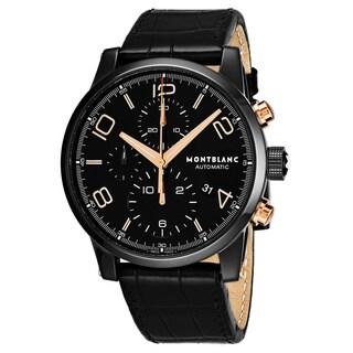 Mont Blanc Men's 105805 'Timewalker' Black Dial Black Leather Strap Chronograph Swiss Automatic Watch