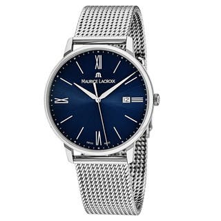 Maurice Lacroix Men's EL1118-SS002-410 'Eliros' Blue Dial Stainless Steel Swiss Quartz Watch|https://ak1.ostkcdn.com/images/products/18227945/P24368429.jpg?impolicy=medium