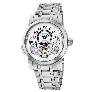 Mont Blanc Men's 107068 'Nicolas Rieussec' Silver Dial Stainless Steel Chronograph Home Time Swiss Automatic Watch|https://ak1.ostkcdn.com/images/products/18227948/P24368432.jpg?impolicy=medium