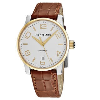 Mont Blanc Men's 106500 'Timewalker' Silver Dial Brown Leather Strap Two Tone Swiss Automatic Watch|https://ak1.ostkcdn.com/images/products/18227958/P24368431.jpg?impolicy=medium