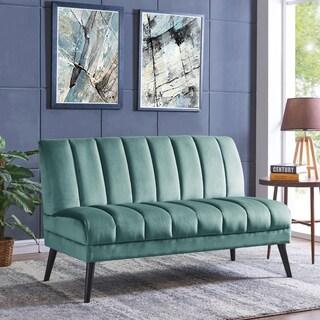Handy Living Houston Mid-Century Modern Turquoise Blue Velvet Armless Loveset