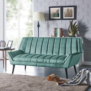 Handy Living Houston Mid-Century Modern Turquoise Blue Velvet Sofa