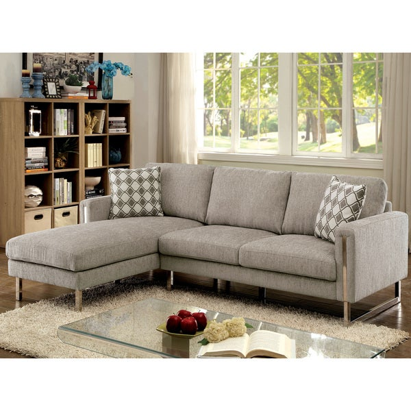 Superbe Furniture Of America Devin Contemporary Pewter Chenille Upholstered  L Shaped Sectional Sofa