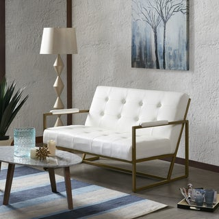 Ink+Ivy Waldorf White Faux Leather Loveseat With Metal Frame