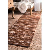 nuLOOM Hand-woven Abstract Leather Brown Rug (2'6 x 8')