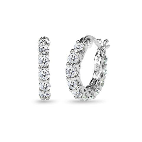 ICZ Stonez Sterling Silver 16mm Round Small Huggie Hoop Earrings Created with AAA Zirconia