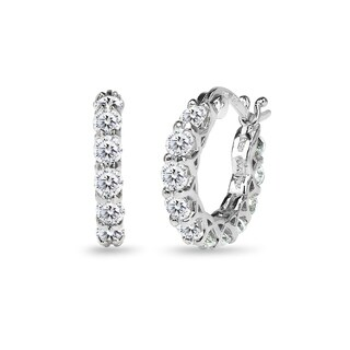 ICZ Stonez Sterling Silver 16mm Round Small Huggie Hoop Earrings Created with Swarovski Zirconia