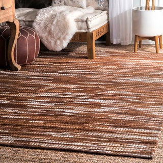 nuLOOM Hand Woven Abstract Pinstripe Leather Brown Rug (4' x 6') - 4' x 6'