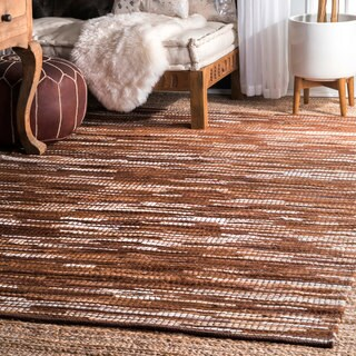 nuLOOM Hand Woven Abstract Pinstripe Leather Brown Rug (7'6 x 9'6)