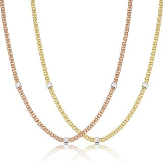 Fremada 14k Two Tone Gold Bismark And Cube Station Necklace 18 Inch