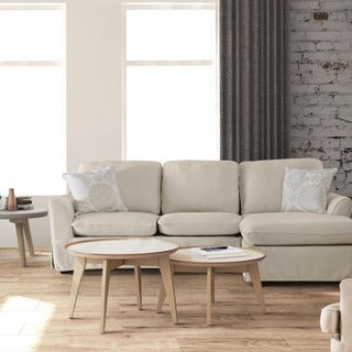 Furniture of America Selenan Transitional Linen-like Fabric Foam Skirted Sectional