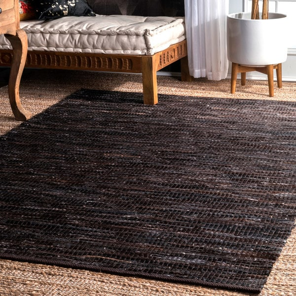nuLOOM Hand-woven Pinstripe Leather Area Rug