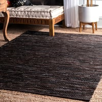nuLOOM Hand Woven Abstract Pinstripe Leather Dark Brown Rug - 5' x 8'
