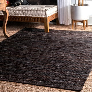 nuLOOM Hand Woven Abstract Pinstripe Leather Dark Brown Rug (7'6 x 9'6)
