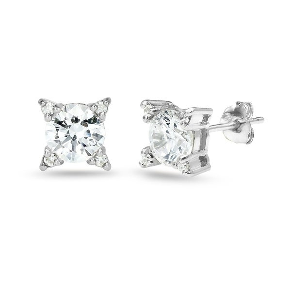 6c4933bbf ICZ Stonez Sterling Silver Studded Solitaire Stud Earrings Created with  Swarovski Zirconia