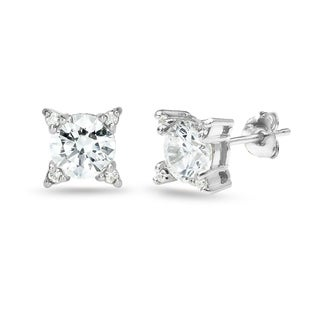 ICZ Stonez Sterling Silver Studded Solitaire Stud Earrings Created with Swarovski Zirconia