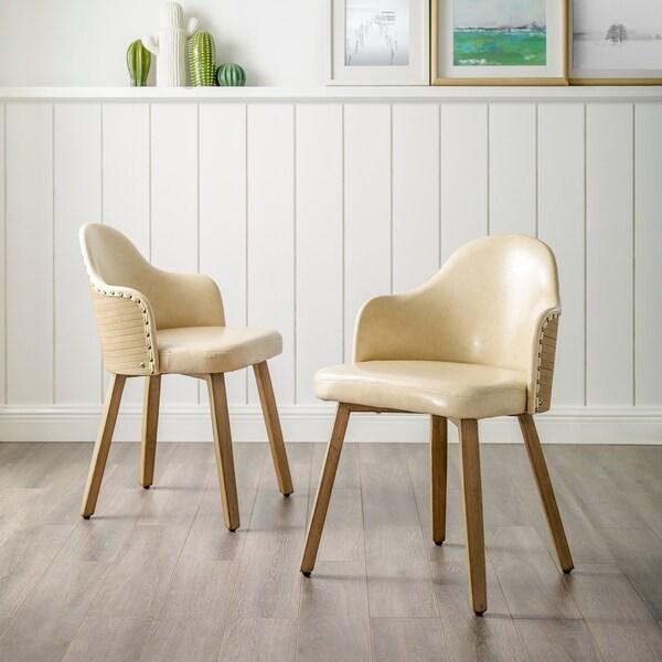 Shop Corvus Metz Mid Century Bonded Leather Bamboo Accent