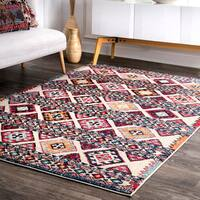 "nuLOOM Traditional Aztec Tribal Bands Diamonds Multi Rug (7'10 x 11') - 7'10"" x 11'"