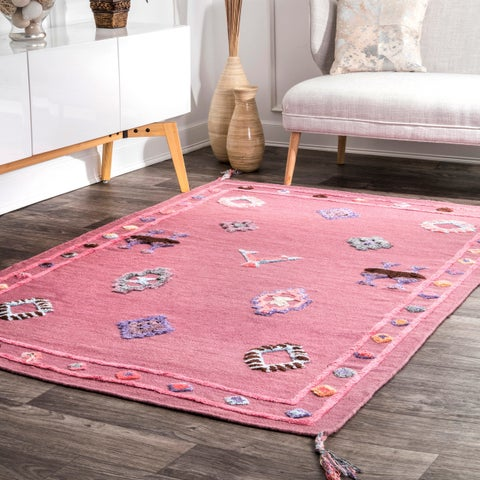 nuLOOM Pink Handmade Raised Tribal Symbols Border Kids Area Rug